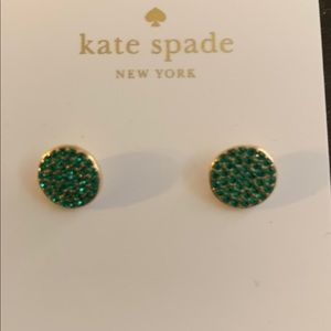 Kate Spade Green Crystal and Gold Stud Earrings